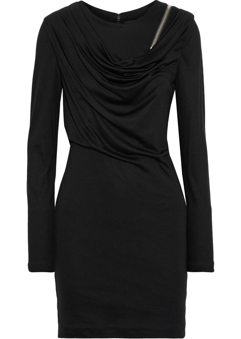 Alexander Wang Woman Zip-detailed Draped Wool Mini Dress Black