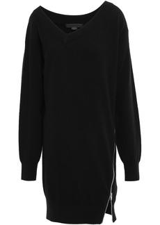 Alexander Wang Woman Zip-detailed Knitted Mini Dress Black