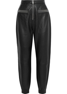 Alexander Wang Woman Zip-detailed Leather Tapered Pants Black