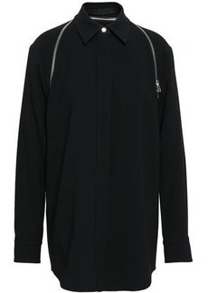 Alexander Wang Woman Zip-detailed Satin-crepe Shirt Black