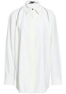 Alexander Wang Woman Zip-detailed Satin-crepe Shirt Off-white