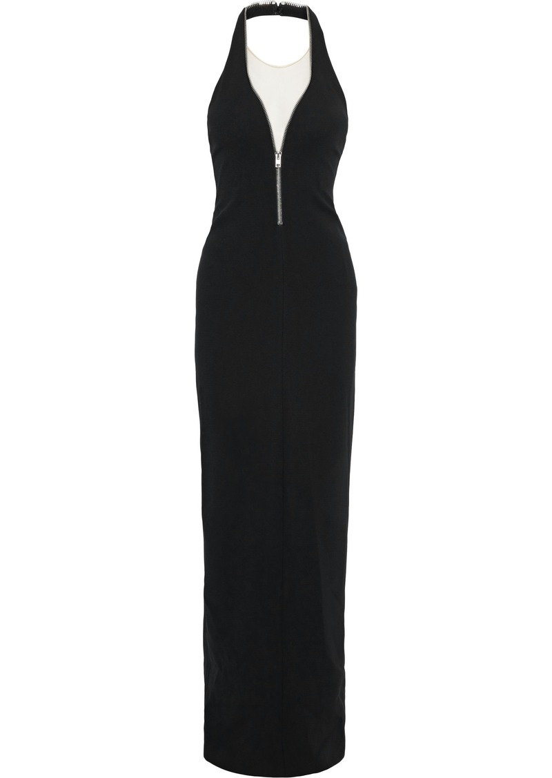 Alexander Wang Woman Zip-detailed Tulle-paneled Cady Halterneck Gown Black