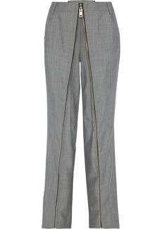 Alexander Wang Woman Zip-detailed Wool And Mohair-blend Straight-leg Pants Gray
