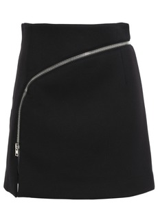 Alexander Wang Woman Zip-detailed Cady Mini Skirt Black