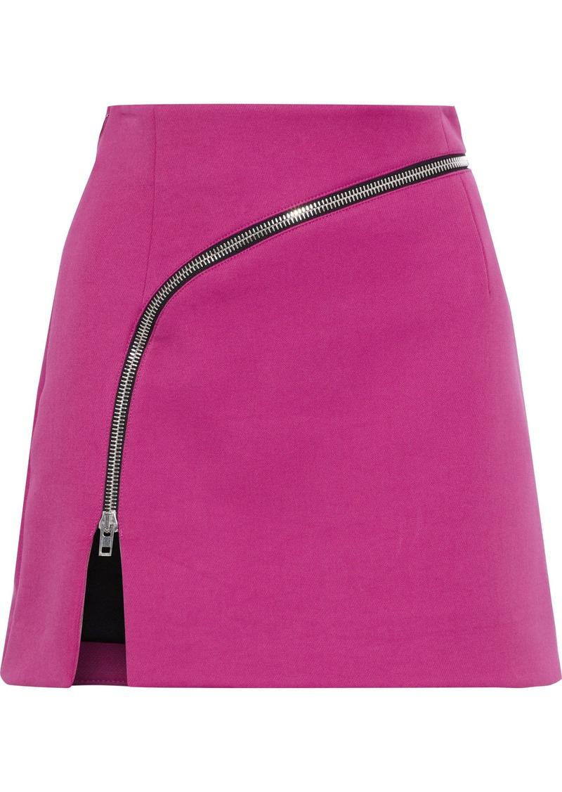 Alexander Wang Woman Zip-embellished Woven Mini Skirt Magenta