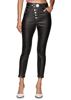 Alexander Wang Women's Button-Detailed Coated Cotton-Blend Pants