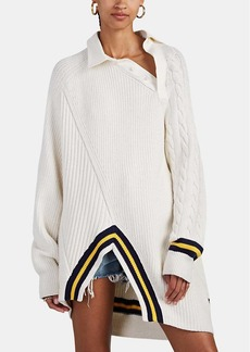 Alexander Wang Women's Chunky Mixed-Knit Polo Sweater