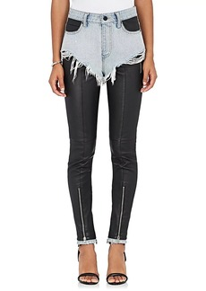 Alexander Wang Women's Cutoff Denim & Leather Leggings