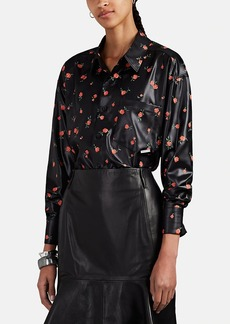 Alexander Wang Women's Floral Coated-Satin Button-Front Blouse