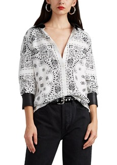 Alexander Wang Women's Leather-Trimmed Bandana-Print Silk Shirt