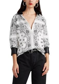 Alexander Wang Women's Leather-Trimmed Bandana-Print Silk Shirt