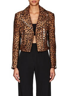 Alexander Wang Women's Leopard-Print Calf Hair & Leather Moto Jacket
