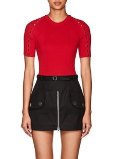 Alexander Wang Women's Snap-Detail Rib-Knit Cotton Sweater