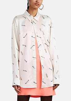 Alexander Wang Women's Stained-Cigarette Satin Button-Front Blouse