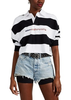 Alexander Wang Women's Striped Cotton Crop Rugby Shirt