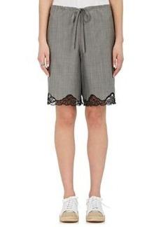 Alexander Wang Women's Wool-Mohair Lace-Trimmed Shorts