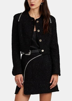 Alexander Wang Women's Zip-Detailed Metallic Wool-Blend Tweed Crop Jacket