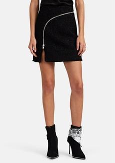 Alexander Wang Women's Zip-Detailed Metallic Wool-Blend Tweed Miniskirt