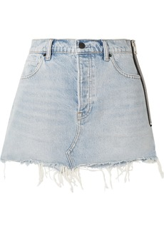 Alexander Wang Zip-embellished Frayed Denim Mini Skirt