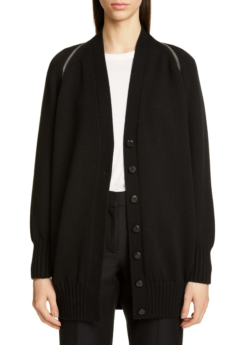 Alexander Wang Zip Shoulder Merino Wool Cardigan
