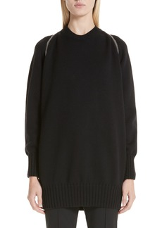 Alexander Wang Zip Shoulder Merino Wool Sweater