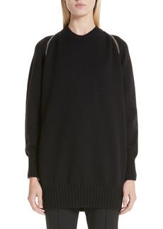 Alexander Wang Zip Shoulder Merino Wool Sweater