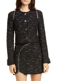 Alexander Wang Zipper Detail Tweed Crop Jacket