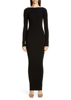 Alexander Wang Zipper Neck Long Sleeve Ribbed Maxi Sweater Dress