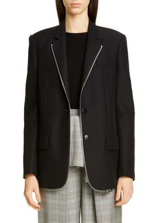 Alexander Wang Zipper Trim Oversized Wool Blend Blazer