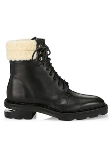 Alexander Wang Andy Shearling-Trimmed Leather Hiking Boots