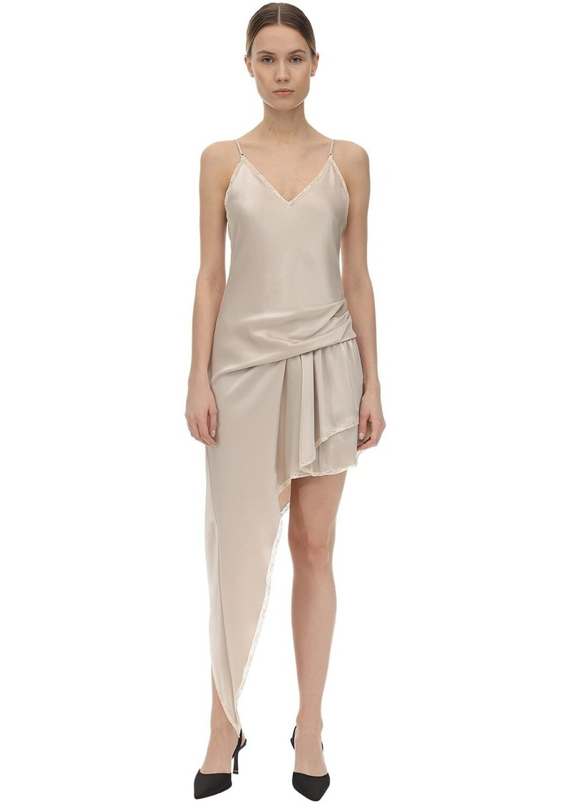 Alexander Wang Asymmetric Satin Dress W/ Lace Trim