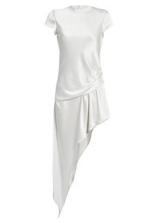 Alexander Wang Asymmetrical Ruched Satin Dress