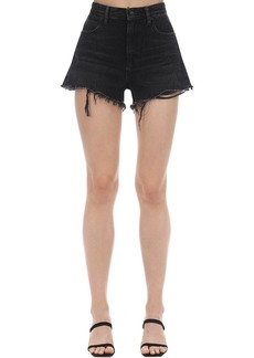 Alexander Wang Back Zip Cotton Denim Shorts