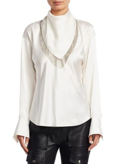 Alexander Wang Ball Chain Fringe Scarf Blouse