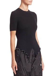 Alexander Wang Ball Chain Split Hem Ribbed Tee