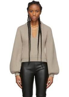 Alexander Wang Beige Wool Draped Neck Sweater