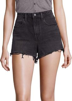 T by Alexander Wang Bite High-Rise Frayed Denim Shorts