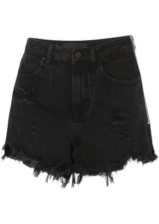 Alexander Wang Bite Zip-detailed Frayed Denim Shorts