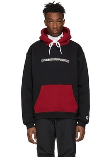 Alexander Wang Black & Red Compact Fleece Two-Toned Logo Hoodie