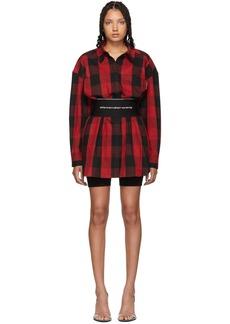 Alexander Wang Black & Red Plaid Belt Shirt Dress