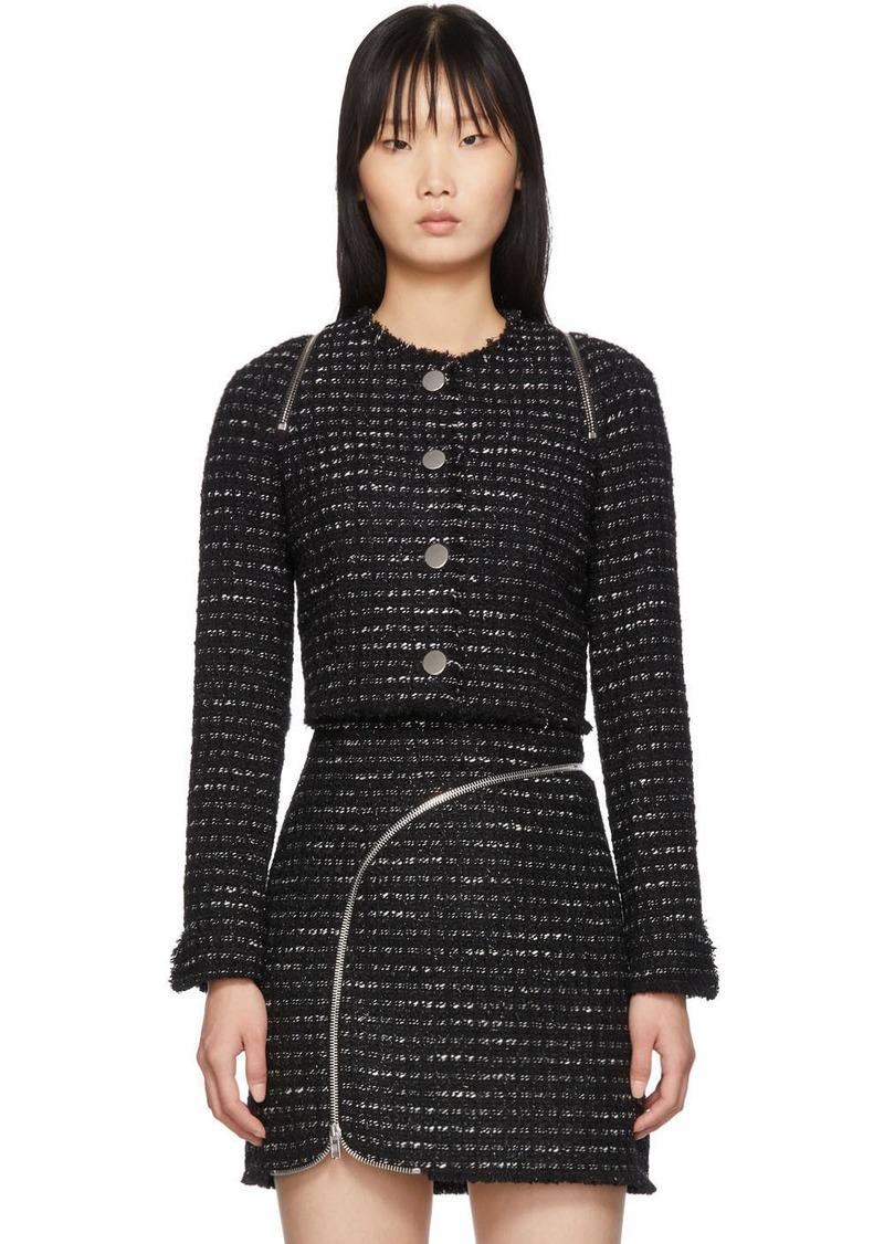 Alexander Wang Black & White Tweed Zipper Jacket