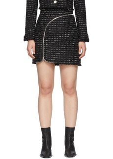 Alexander Wang Black & White Tweed Zipper Miniskirt