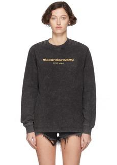 Alexander Wang Black Acid Washed Long Sleeve T-Shirt