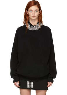 Alexander Wang Black Crystal Trim Pullover Turtleneck