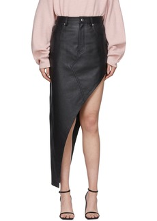 Alexander Wang Black Leather Asymmetrical Skirt