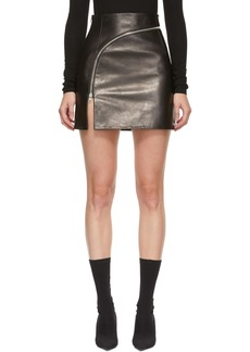 Alexander Wang Black Leather Curved Zipper Miniskirt