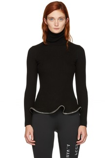 Alexander Wang Black Ruffle Zipper Turtleneck