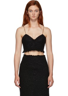 Alexander Wang Black Tweed Fray Bra Tank Top