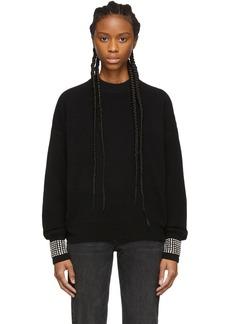 Alexander Wang Black Wool Crystal Crewneck Sweater