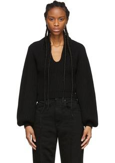 Alexander Wang Black Wool Draped Neck Sweater